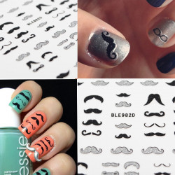 Glitter Vintage London Mustache Nail Art Stickers Beard Nail Decals
