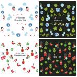 Glow I Nattjul Bird Star Vattendekaler Dekaler Nail Sticker Naglar
