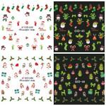 Glow In Nachtweihnachts Rote Socken Wassertransfer Abziehbilder Nagel Aufkleber Nageldesign