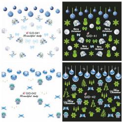 Glow in Nattjul Snowflake Vattendekaler Dekaler Nail Sticker