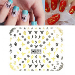 Gold Black Butterfly Flower Lace Adhesive Nail Art Sticker Decal