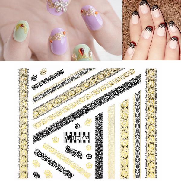 Guld Sort Lace Blomst Klæbemiddel Nail Art Mærkat Decal Negle