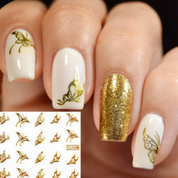 Gold Sommerfugl Design Vand Transfer Negle Mærkat Decal
