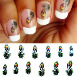Green Peacock Feather Pattern Water Transfer Decal Nail Sticker