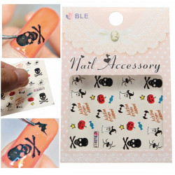 Halloween Pumpkin Spider Ghosts Nail Art Vand Transfer Decals Sticker