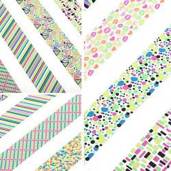 Stor Sheet Geometriskt Mönster Fluorescence Färg Nagelkonst Sticker