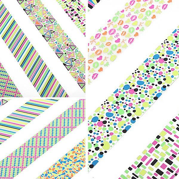 Stor Sheet Geometrisk Mønster Fluorescens Farve Nail Art Sticker Negle