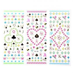 Stor Sheet Poker Blomst Decal Fluorescens Farve Nail Art Sticker