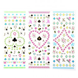 Großes Blatt Poker Blumentattoo Fluoreszenz Farben Nagel Kunst Aufkleber