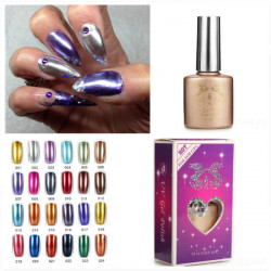 Metal Color UV Gel Nail Polish Primer Base Top Coat Set
