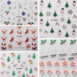 Metal Sølv 3D Jul Series Snowflake Gift Nail Art Sticker