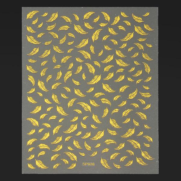 Metallic Gold Adhesive Feather Design Nail Art Sticker Decal Nail Art