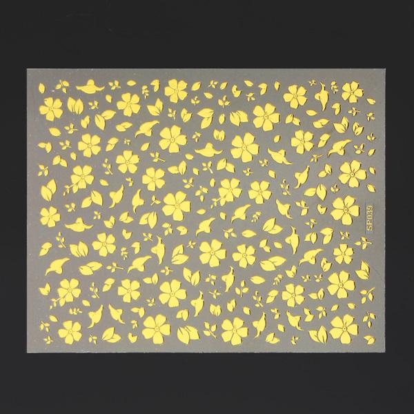 Metallic Gold Adhesive Blomster Leaf Design Nagelkonst Sticker Decal Naglar