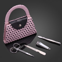 Mini Rosa Punkt Beutel Nagelfeile Scherer Maniküre Set