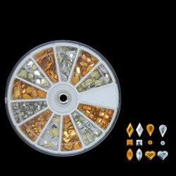 Mix Shape Gold Silver Rhombus Water Drop Metal Nail Decoration Wheel