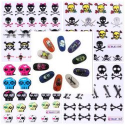 Mixed 11 Styles BLE1192-1202 Skull Nail Art Decals Water Stickers