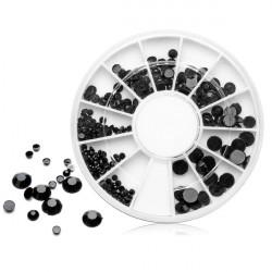 Blandat 4 Storlekar Svart Akryl Rhinestone Nail Dekoration Hjul