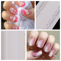Nagelkonst Sticker White Lace Dekal Tippar Dekorationer