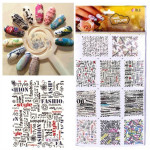 Newspaper Design Letter Water Transfer Stamp Printing Nail Art Sticker Nail Art