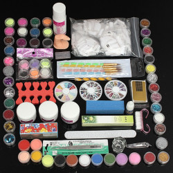 Pro 88 Pcs Plastic Box Nail Art Manicure Acrylic Powder Tip Tool Set