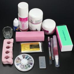 Pro Clipper Akryl Pulver Væske Glitter Børste Pensel Nail Art Værktøj Sæt Kit