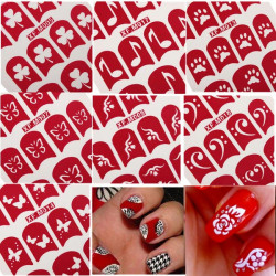 Red Footprints Hollow Nail Art Sticker Foils Decals Decoration