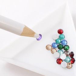 Rhinestones Picker Pencil Nail Art Tool Wax White Pen Gem Crystal