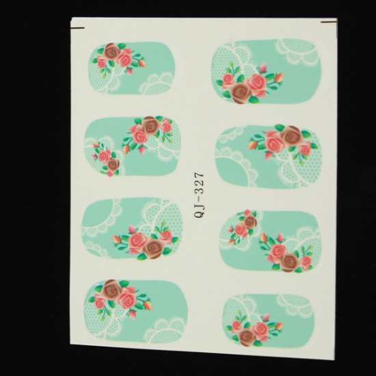 Rose Lace Mønster Blomst Vand Transfer Nail Art Mærkat Decal 2021