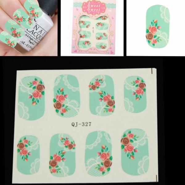Rose Lace Mønster Blomst Vand Transfer Nail Art Mærkat Decal Negle