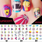 Vattentät Unicorn Dekal Blickar Regnbåge Mönster Nagelkonst Sticker Naglar