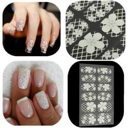 White Lace Blomster Nagelkonst Dekal 3D Klistermärken Transparent