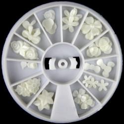 Hvid Resin Blomst Bowknot Negle Dekoration Hjul