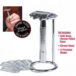 1 Holder 12 Blades Dubbelbladshyvel Manual Shaver Chrome Stand