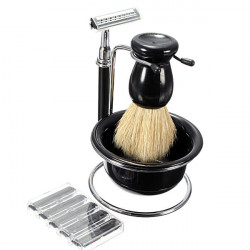 5 In 1 Manual Razor Set Shaving Brush Bowl Stand 5 Blades