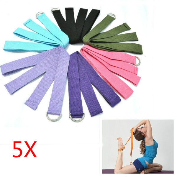 5stk Yoga Stretch Strap D-Ring Belt Stretching Band Personlig Pleje