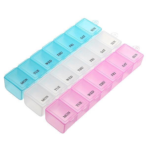 7 Dagar Per Vecka Pill Box Medicin Dispenser Organizer Förvaring Hälsoprodukter