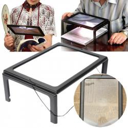 Sammenklappelig Fuld Side Stor Magnifier 3X med LED Lys Til Læsning