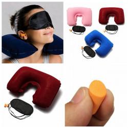 Oppustelige Travel Sleeping Sæt U Air Cushion Pude Ørepropper Øjenmaske