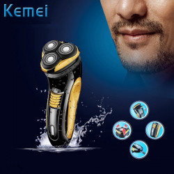 Kemei KM-8010 220V Rotary Washable Electric Razor Rechargeable Shaver