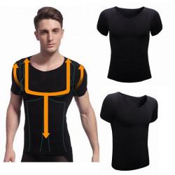 Män Slim Kortärmad Body Shaper Shapewear Tejpning Inre T-shirt