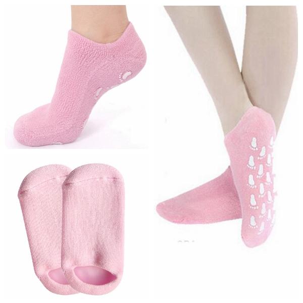 1 Paar rosa SPA Gel Feuchtigkeitsspendende Fuß Socken Hautaufhellung Hautpflege