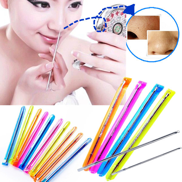 4Pcs 8cm Stainless Acne Blackhead Pimple Extraction Needle Removal Pin Skin Care