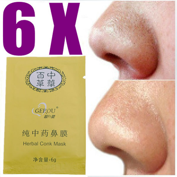 6 Packs Herbal Deep Cleansing Nose Pores Blackheads Removal Conk Mask Skin Care