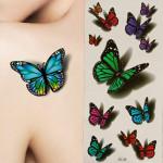 3D Sommerfugl Flying Design Midlertidig Tatovering Mærkat Decal Tatoveringer