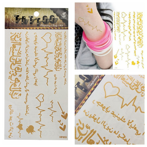 Arabic Guld Metallic Midlertidig Tatoveringer Body Art Sticker Tatoveringer