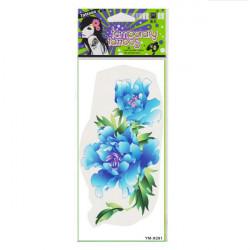 Blue Peony Totem Design Flower Waterproof Temporary Tattoo Sticker