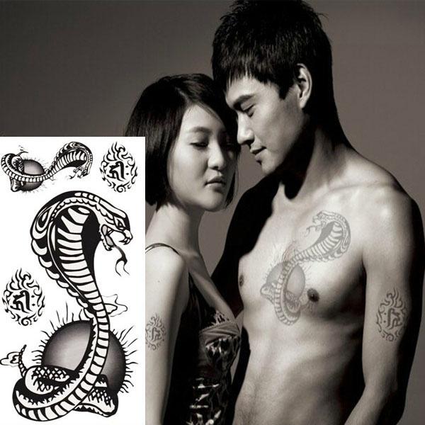 Cobra Vandtæt Snake Design Midlertidig Tatovering Sticker Paper Tatoveringer