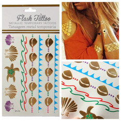 Colorful Gold Turtle Metallic Temporary Tattoos Body Art Sticker