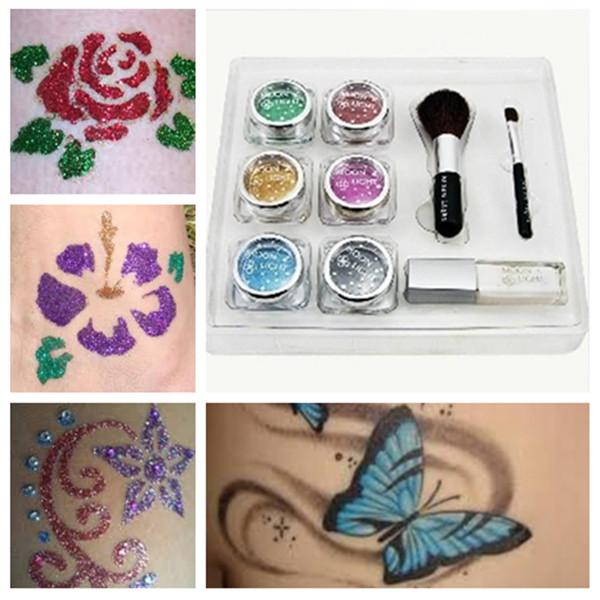 Diamond Glitter Malet Midlertidig Tattoo Stencils Kit for Body Art Tatoveringer