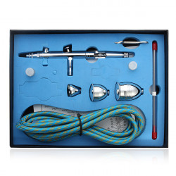 Dual Action Gravity Feed Airbrush Kit with 2/5/13CC 3-Cup Spray Gun